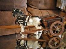 "VINTAGE DAPPLE GREY 7"" HIGH CHINA SHIRE HORSE WITH WOODEN CART TURNING WHEELS"